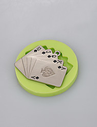 Playing CARDS Silicone Mold For Fondant Cake Chocolate Candy Fimo Clay Decoration Tools Ramdon Color