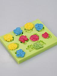 Molde de la hornada del silicón de la flor herramientas grandes de la decoración de la cacerola de la torta