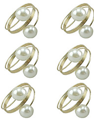 12pcs lot Pearl Napkin Rings Buckle Hoop Hotel Party Table Decoration Napkin Circle