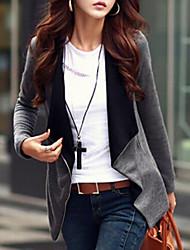 Недорогие -Для женщин Повседневные Осень Куртка V-образный вырез,Уличный стиль Однотонный Обычная Длинный рукав,Трикотаж,Чистый цвет