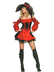 cheap -Pirate Cosplay Costumes Party Costume Female Halloween Festival / Holiday Halloween Costumes Red Lace