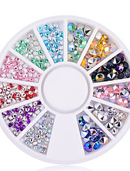 cheap -200 pcs 2mm 4mm 3D Nail Art Tips Gems Crystal Glitter Sharp End Rhinestone DIY Nail Decoration Wheel