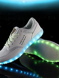Unissex-Tênis-Conforto Light Up Shoes-Rasteiro-Branco Preto-Courino Tecido-Ar-Livre Escritório & Trabalho Casual Para Esporte