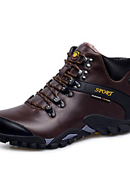 Hiking Shoes Men's Athletic Shoes Fall / Winter Round Toe Leather Outdoor Flat Heel  / Lace-up Black / Brown