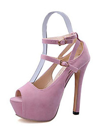 cheap -Women's Sandals Summer Peep Toe Fleece Casual Stiletto Heel Buckle Black / Pink
