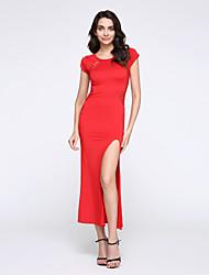 Femme Dentelle Robe Soirée Grandes TaillesCouleur Pleine Col Arrondi Maxi Manches Courtes Rouge Noir Polyester Spandex Eté
