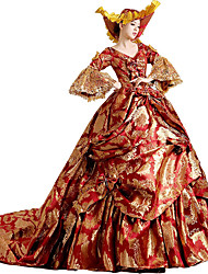 cheap -Victorian Rococo Costume Women's Party Costume Masquerade Red Vintage Cosplay Lace Cotton Court Train