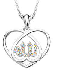Fashion Jewelry Heart Allah Zirconia  Jewelry Bride Pendant & Necklace 18K Platinum Plated  Women Gift P30134-w