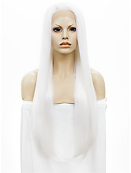 Недорогие -Парики из искусственных волос Прямой Белый Искусственные волосы Белый Парик Лента спереди Белый StrongBeauty