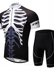 economico -XINTOWN Per uomo Manica corta Maglia con pantaloncini da ciclismo - Nero Bicicletta Pantaloncini /Cosciali Maglietta/Maglia Set di vestiti