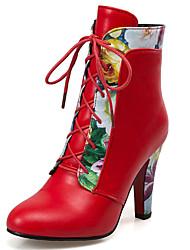 Feminino-Botas-Botas da Moda-Salto Grosso-Preto Vermelho Branco-Courino-Escritório & Trabalho Social Casual