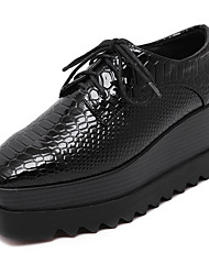 cheap -Women's Shoes Four Season Platform Creepers Lace-up Square Toe Black Shoes
