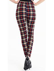 Women Print Plaid Khaki Legging Polyester