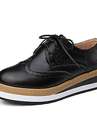 Women's Oxfords Leather Fall Casual Lace-up Platform Black Brown 1in-1 3/4in