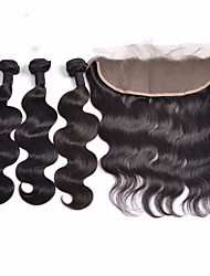 cheap -Lace Frontal Closure With Bundles Indian Virgin Hair Body Wave Hair Wefts With 13x4 Bleached Knots Frontal