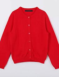 preiswerte -Mädchen Pullover & Cardigan-Lässig/Alltäglich einfarbig Baumwolle Herbst Rot