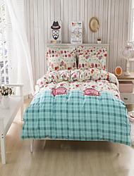 bedtoppings cachecol 4pcs duvet cover quilt definir o tamanho da rainha folha plana fronha padrão colorido imprime microfibra