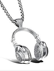 baratos -Homens Colares com Pendentes Aço Titânio Moda Adorável Personalizado Hip-Hop Rock Hipoalergênico Preto Prata Dourado Jóias ParaCasamento
