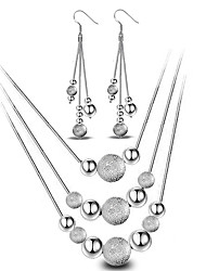 cheap -Women's Sterling Silver Ball Jewelry Set Earrings / Necklace - Basic / Fashion / Simple Style Silver Jewelry Set / Drop Earrings /