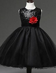 Ball Gown Knee Length Flower Girl Dress - Organza Sleeveless Jewel Neck with Sequin