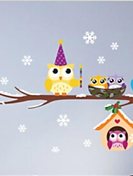 New Fashion Christmas Snow Owl Stickers Children Room Decoration Stickers Stickers Can Be Removed