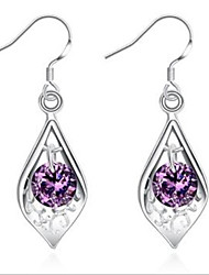 cheap -925 silver inlaid purple stone Shell Earrings Classical Feminine Style