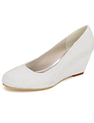 cheap -Women's Shoes Satin Spring Summer Basic Pump Wedding Shoes Null Wedge Heel Round Toe Null Rhinestone For Wedding Party & Evening Ivory