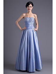 A-Line Sweetheart Floor Length Taffeta Formal Evening Dress with Beading Pleats by XFLS