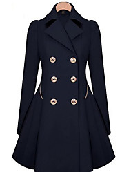 cheap -Women's Going out Work Street chic Winter Fall Coat,Solid Color Crew Neck Wool Others