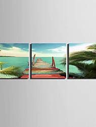 Недорогие -Пейзаж 3 панели Квадратный С картинкой Декор стены Украшение дома