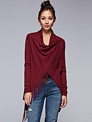 Women's Tassel Going out / Work Simple / Street chic Regular CardiganSolid Red Turtleneck Long Sleeve Cotton / Rayon