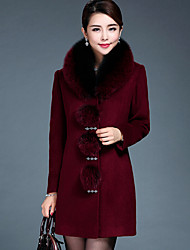 Women's Plus Size / Casual/Daily Simple Coat,Solid Round Neck Long Sleeve Winter Red / Black Wool / Faux Fur Thick