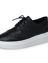 cheap -Women's Oxfords Spring / Summer / Fall / Winter Platform / Casual Wedge Heel Lace-up Black White / Platform Shoes