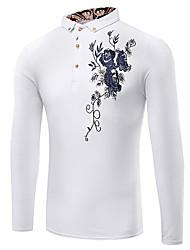 abordables -Tee-Shirt Pour des hommes A Motifs / Couleur plaine / Lettre Décontracté / Travail / Formel / Sport / Grandes Tailles Manches longues