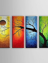 Hand-Painted Oil Painting on Canvas Wall Art Abstract Four Seasons Trees Ready to Hang