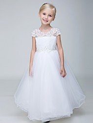 cheap -Ball Gown Ankle Length Flower Girl Dress - Lace Tulle Short Sleeves Jewel Neck with Beading Appliques by LAN TING Express