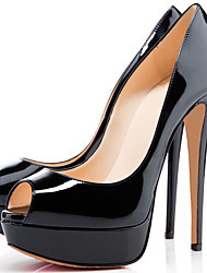 cheap -Unisex Shoes Patent Leather Spring Summer Heels Stiletto Heel for Wedding Party & Evening Dress Black Red Almond