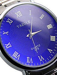 cheap -278 YAZOLE Fashion Watch Couple's Stainless Steel Blue Ray Glass Analog Quartz Wrist Watches