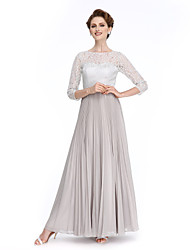 A-Line Bateau Neck Ankle Length Chiffon Lace Mother of the Bride Dress with Draping by LAN TING BRIDE®