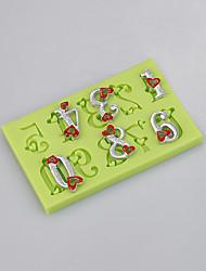 Molde de forma de número para ferramentas de fondant Bolo de decoração de moldes de chocolate Molde de chocolate Cor do silicone aleatório