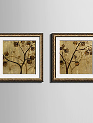 cheap -E-HOME® Framed Canvas Art, The Yellow Leaves on The Tree Framed Canvas Print Set Of 2
