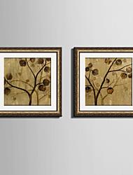 abordables -Floral/Botánico Lienzo enmarcado / Conjunto enmarcado Arte de la pared,PVC Dorado Passepartout incluido con Marco Arte de la pared