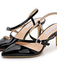 cheap -Women's Shoes Patent Leather Summer Sandals Stiletto Heel Buckle for Office & Career Dress Silver Golden Nude Burgundy Champagne