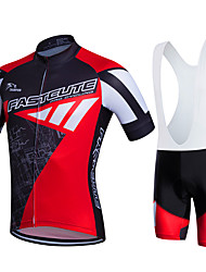 cheap -Fastcute Men's Women's Short Sleeves Cycling Jersey with Bib Shorts Bike Bib Tights Clothing Suits, 3D Pad, Quick Dry, Breathable,