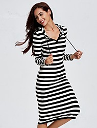 cheap -Women's Fine Stripe Going out / Casual Active Shift Dress,Striped Hooded Midi Long Sleeve Black Cotton Spring / Fall BN0742