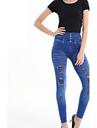 abordables -legging destrozado del dril de algodón del color sólido de la nueva manera de las mujeres, algodón