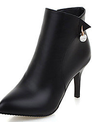 cheap -Women's Shoes Leatherette Fall Winter Bootie Fashion Boots Boots Stiletto Heel Imitation Pearl Zipper for Office & Career Dress Black