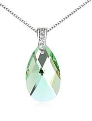 baratos -Mulheres Cristal Colares com Pendentes - Cristal Fashion Verde, Azul, Dourado Colar Para Diário
