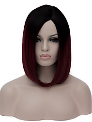 cheap -Women Short Wig Black to Dark Red Bob Haircut Straight Wig For Party
