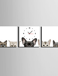 MINI SIZE E-HOME Cats And Dogs Clock in Canvas 3pcs